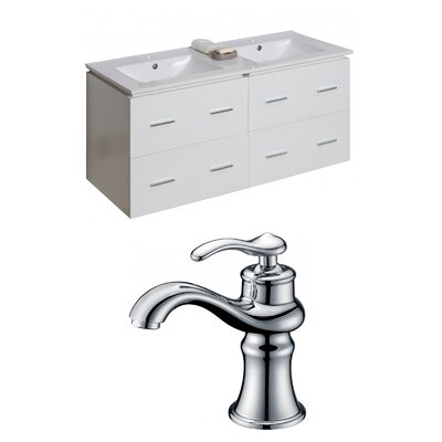 Hinerman 48 Wall-Mounted Double Bathroom Vanity Set Base Finish: White