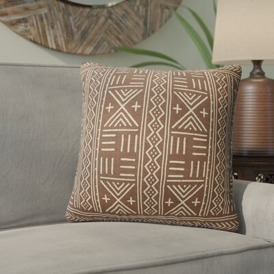 Bemelle Mud Cloth Geometric Throw Pillow Size: 24 H x 24 W, Color: Brown/ Ivory