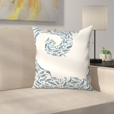 Elena ONeill Whale Wave Throw Pillow Size: 16 x 16