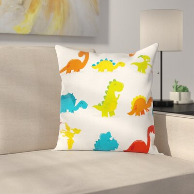 Dinosaur Cute Funny Cartoon Set Square Cushion Pillow Cover Size: 24 x 24