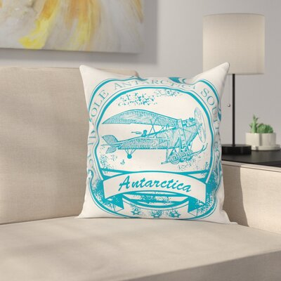 Vintage Airplane Grunge Stamp Square Pillow Cover Size: 18 x 18