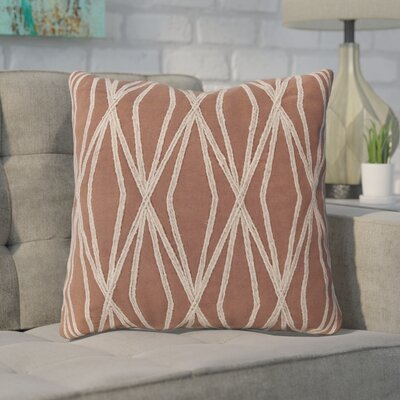 Chan 100% Cotton Throw Pillow Size: 18 H x 18 W x 4 D, Color: Burgundy, Filler: Down