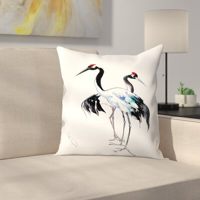Japanese Crane Throw Pillow Size: 14 x 14