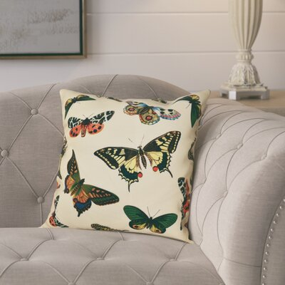 Swan Valley Butterflies Animal Outdoor Throw Pillow Size: 18 H x 18 W, Color: Yellow