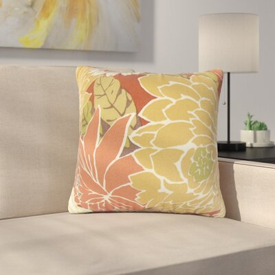 Strawser Floral Throw Pillow Color: Orange