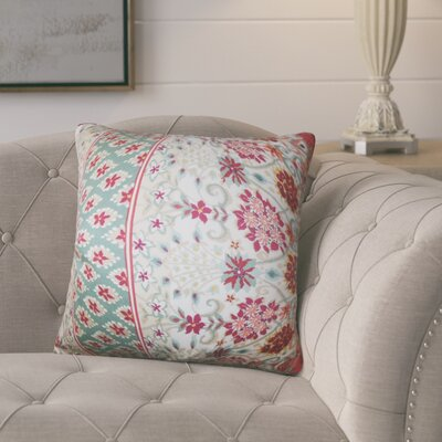 Polster Floral Cotton Throw Pillow Color: Mint Red