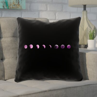 Enciso Moon Phases Indoor Throw Pillow Color: Purple, Size: 16 x 16