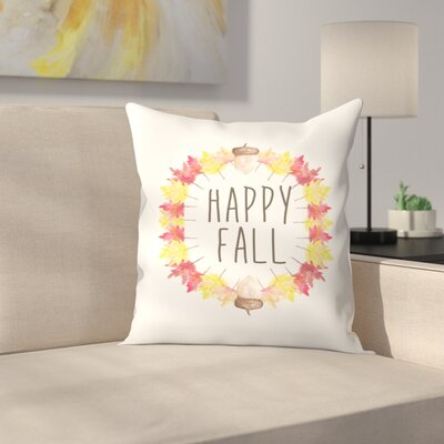 Jetty Printables Happy Fall Typography Throw Pillow Size: 20 x 20