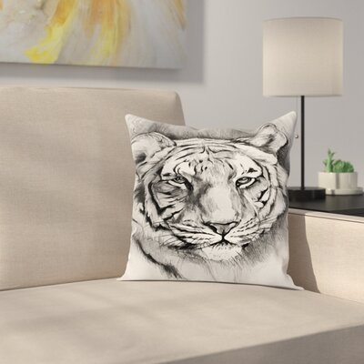 Tiger Sketch Pillow Cover Size: 16 x 16