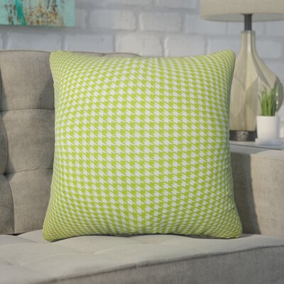 Trym Houndstooth Cotton Throw Pillow Color: Green