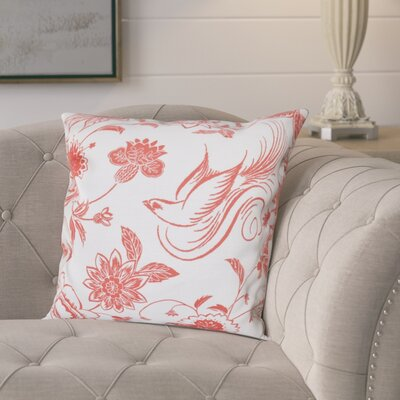 Cecilia Traditional Bird Floral Outdoor Throw Pillow Size: 20 H x 20 W, Color: Coral