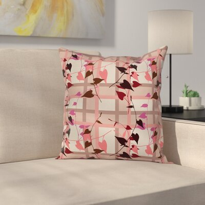 Heart Shaped Leaves Square Pillow Cover Size: 24 x 24
