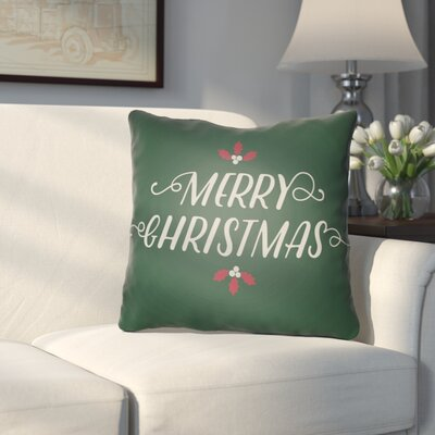Morrell Merry Christmas Indoor/Outdoor Throw Pillow Size: 20 H x 20 W x 4 D, Color: Green