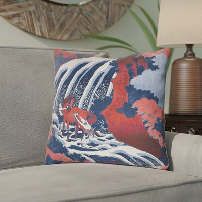 Channelle Horse and Waterfall Square Indoor Throw Pillow Size: 14 x 14, Color: Red/Blue