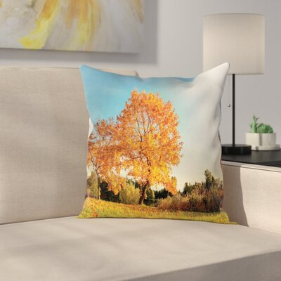 Fall Decor Maple Tree Autumn Square Pillow Cover Size: 16 x 16