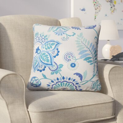 Calla Floral Cotton Throw Pillow Color: Baltic