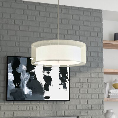 Abdera 3-Light LED Drum Pendant Shade Color: White