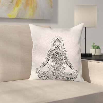 Yoga Meditation Lotus Mandala Square Pillow Cover Size: 16 x 16