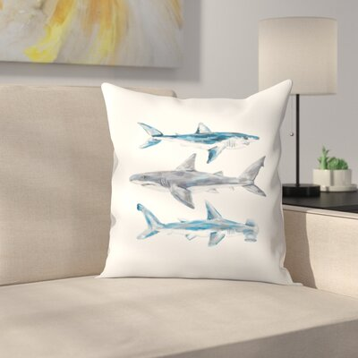 Jetty Printables Painted Shark Trio 1 Throw Pillow Size: 18 x 18