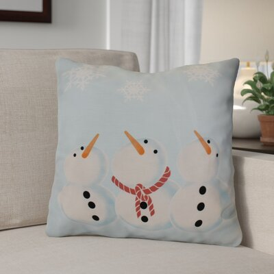 Decorative Snowmen Geometric Print Throw Pillow Size: 16 H x 16 W, Color: Light Blue