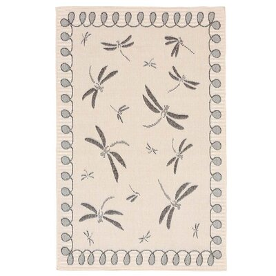 Dragonflies Beige/Black Indoor/Outdoor Area Rug