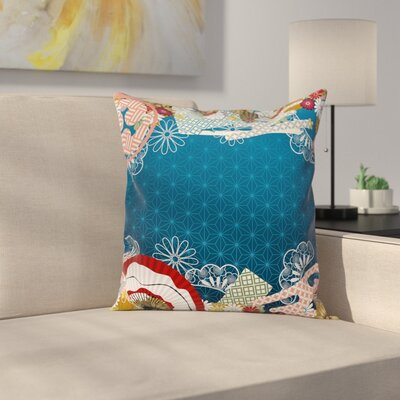 Japanese Modern Asian Flowers Square Pillow Cover Size: 18 x 18