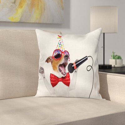 Birthday Doggy Square Pillow Cover Size: 18 x 18