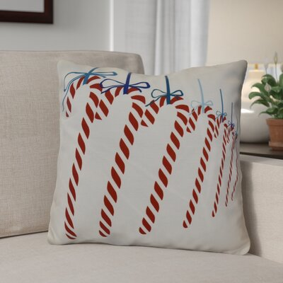 Candy Canes Throw Pillow Size: 26 H x 26 W, Color: Teal