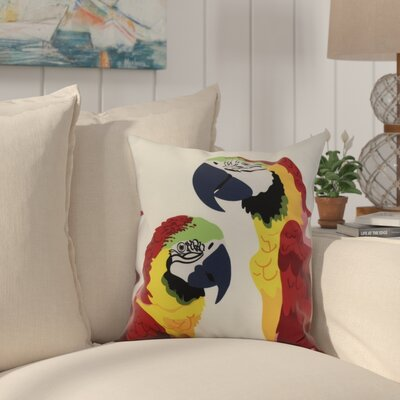 Shetland Macaw Throw Pillow Color: Red, Size: 18 x 18