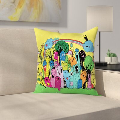 Modern Doodle Monsters Square Cushion Pillow Cover Size: 18 x 18