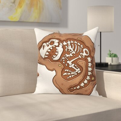 Dinosaur T-Rex Fossil Pillow Cover Size: 16 x 16