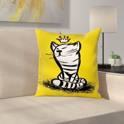 Crown Sketch Pillow Cover Size: 24 x 24