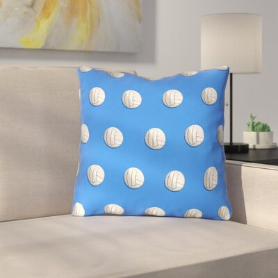 Volleyball Throw Pillow with Zipper Size: 14 x 14, Color: Blue