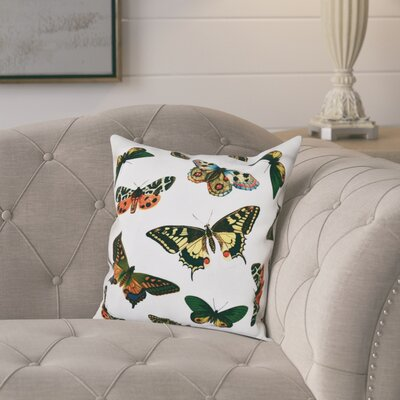Swan Valley Butterflies Animal Print Throw Pillow Size: 20 H x 20 W, Color: White