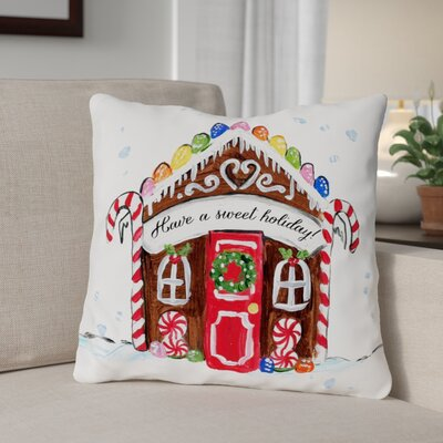 Gingerbread House Throw Pillow Size: 16 x 16