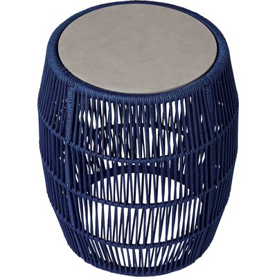Volta Outdoor End Table Table Base Color: Blue Cord