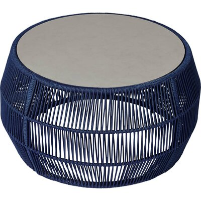Volta Outdoor Coffee Table Table Base Color: Blue Cord