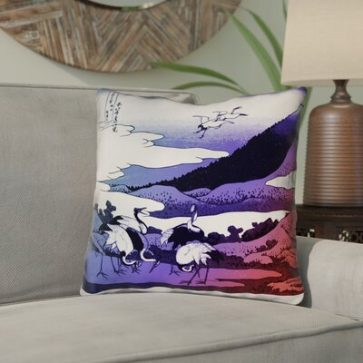Montreal Japanese Cranes Double Sided Print Indoor Throw Pillow Size: 26 x 26 , Pillow Cover Color: Blue/Red