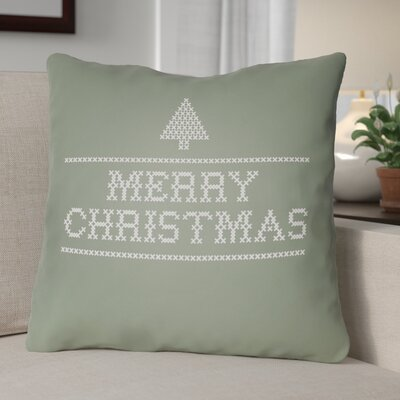 Merry Christmas III Indoor/Outdoor Throw Pillow Size: 18 H x 18 W x 4 D, Color: Green