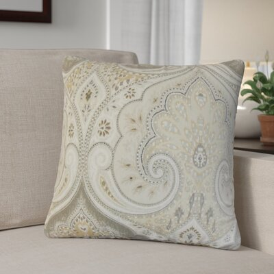 Derosier Damask Linen Throw Pillow Color: Gray