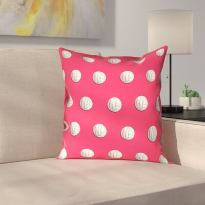 Volleyball Suede Pillow Cover Size: 18 x 18, Color: Red