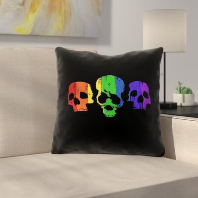 Rainbow Skulls Square Throw Pillow Size: 16 x 16