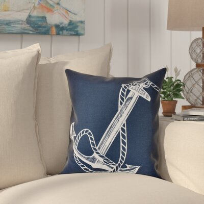 Hancock Anchored Geometric Print Outdoor Throw Pillow Size: 18 H x 18 W, Color: Navy Blue