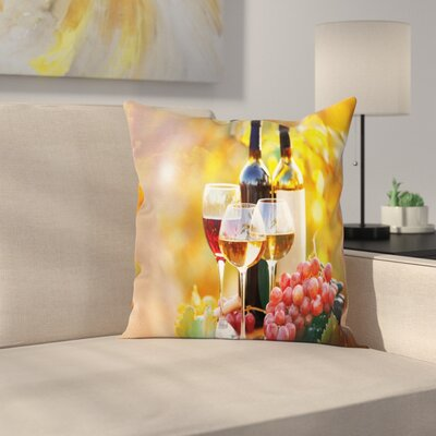 Wine Barrel Grape Country Square Pillow Cover Size: 24 x 24
