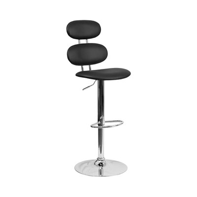 Spade Adjustable Height Swivel Bar Stool Color: Black