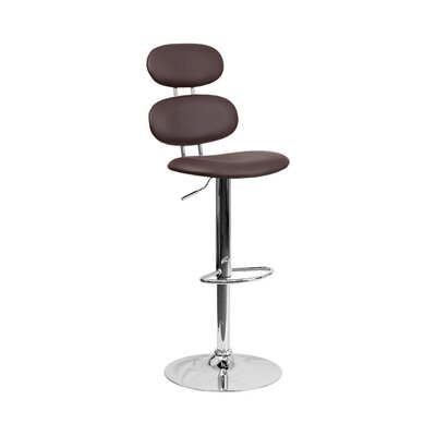 Spade Adjustable Height Swivel Bar Stool Color: Brown