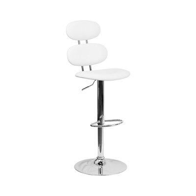 Spade Adjustable Height Swivel Bar Stool Color: White
