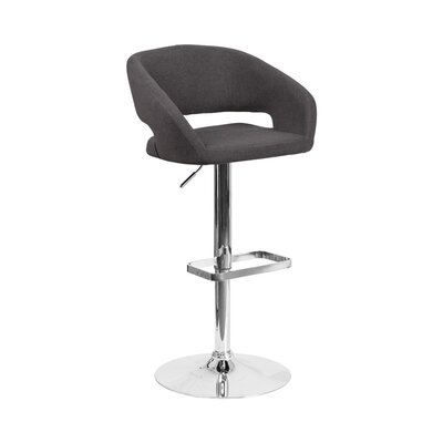Spade Adjustable Height Swivel Bar Stool Upholstery: Black