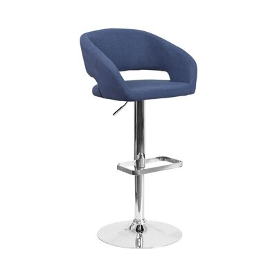 Spade Adjustable Height Swivel Bar Stool Upholstery: Blue