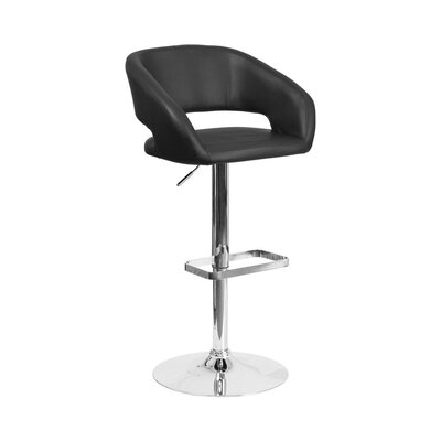 Spade Adjustable Height Swivel Bar Stool Upholstery: Black